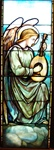 Angel Playing Guitar Antique Stained Glass Window, By J&R Lamb Studios - Circa 1905