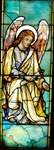 Angel with Scroll Antique Stained Glass Window, By J&R Lamb Studios - Circa 1905