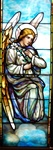 Angel With Lilly- Antique Stained Glass Window, By J&R Lamb Studios - Circa 1905