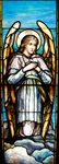Angel with Hands Crossed Antique Stained Glass Window, By J&R Lamb Studios - Circa 1905