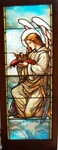 Angel Presenting Crown, Antique Stained Glass Window By J&R Lamb Studios.