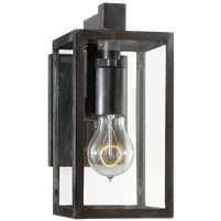 Fresno Framed Short Sconce in Aged Iron with Clear Glass