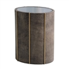 Faux Shagreen Leather Drum Table