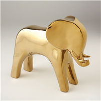 Abstract Animal Sculpture - Lucky Elephant in Bright Gold