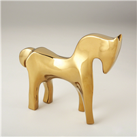 Abstract Animal Sculpture - Horse in Bright Gold