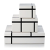 Plush Home Lacquer B&W Mondrian Box Collections (set of 3)