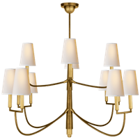 Farlane Large Chandelier in Hand-Rubbed Antique Brass with Natural Paper Shades