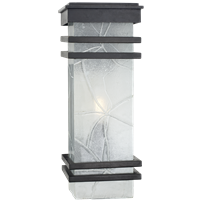Mission Banded Lantern in Aged Iron with Clear Textured Glass