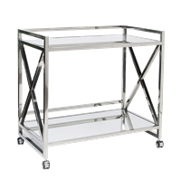 X Bar Cart in Polished Nickel Finish