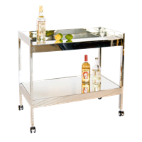 Nickel and Mirror Bar Cart