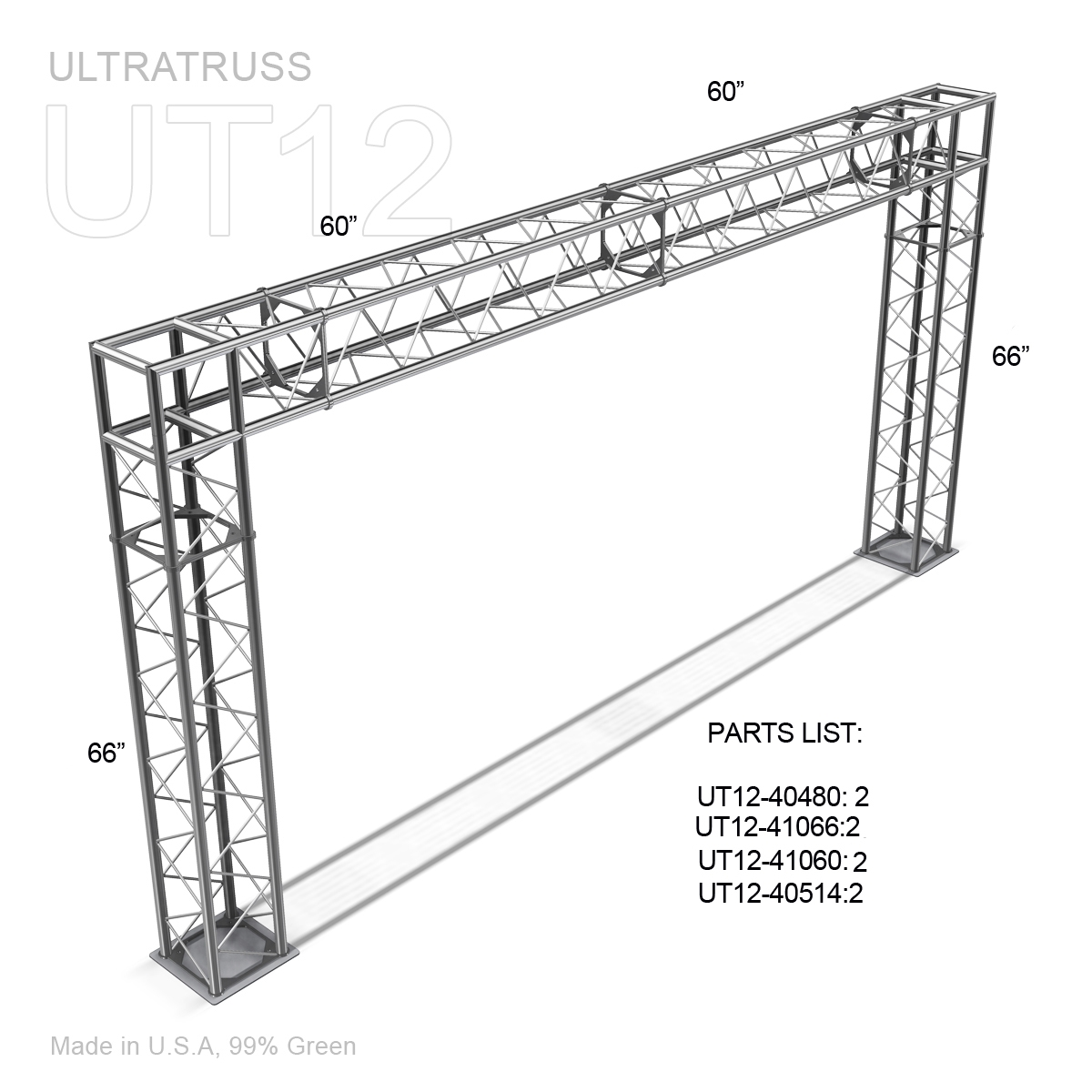 Q013015 01 02 4 ultratruss 12inch box truss arch, 14' wide x 7' tall