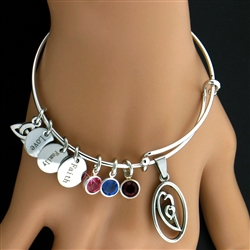 """A Mother's Heart"" Birthstone Charm Bangle (BIYHCHARMBANGLE)"