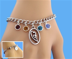 Born In Your Heart  Family Birthstone Charm Bracelet (BIYHFAMILYCB)