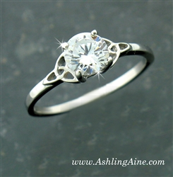 Sterling Silver Trinity Knot 6mm CZ Ring, Celtic Engagement ring( BQ1001)