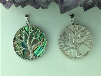 Sterling Silver Family Tree Tree of Life BQ1017 Abalone or Mother of Pearl