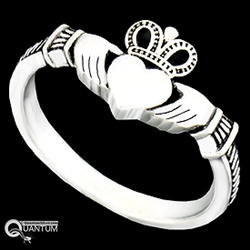 Sterling Silver Claddagh & Knotwork Ring (#BQ530)