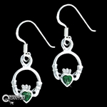 Sterling Silver Claddagh CZ Earrings (#BQ552)