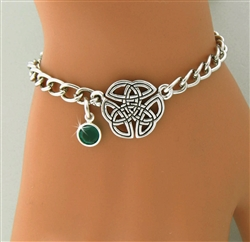 """Wings of an Angel,"" Trinity Knot Birthstone Charm Bracelet ( CB BS Knot)"