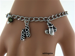 """A Celebration of Irish Dancing"" Dance shoes Charm Bracelet with Genuine Jade Bead(CB2)"