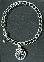 "Wings of an Angel"" Celtic Trinity Knot Charm Bracelet/Amethyst (CB3)"