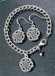 """Wings of an Angel"" Celtic Trinity Knot Charm Bracelet/Amethyst SET(CB3set)"