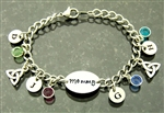 My Lovie's CelticTrinity Hand Forged Initial birthstone Charm Bracelet (CD6)