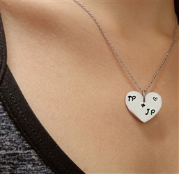 Carved In my Heart Personalized Stainless Steel Heart Necklace(CIMYNECK)