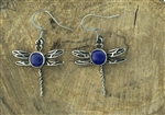 Lapis Lazuli Ribbon of Life Dragonfly Earring (HM105) Celtic Dragonfly, Highland Dragonfly