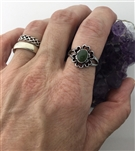Jade , Connemara, Amber or Abalone stone Flower Hearts Love Grows Women's Ring, Blooming Hearts Ring