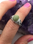 Sterling Silver Trinity Knot Connemara Ireland Stone Ring ( HM30)