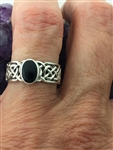 Sterling Silver Infinity LOVE Knot Black Onyx Stone Ring (HM34BO) Irish Wedding Band, Irish Thumb ring, Ring