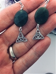 Faceted Oval Trinity knot Connemara Marble Earrings, (HM36) Ireland Handmade