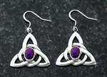 Purple Abalone Trinity Knot Earrings (HM45) , Irish, Scottish, Welsh, Christian IRELAND Earrings