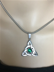 Green Abalone Trinity Knot Necklace (HM46) , Irish, Scottish, Welsh, Christian IRELAND Necklace