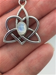 Rainbow Moonstone Celtic SISTER'S KNOT Pendant, Family Knot,(HM55), Irish Pendant, Scottish Pendant, Highland Jewelry