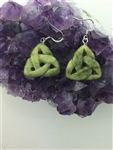 Trinity Knot Connemara Marble Earrings, (HM58) Ireland Handmade