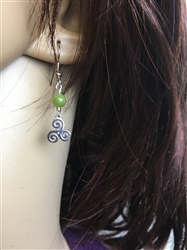 Dainty Triskelion Connemara Celtic Earring , (HM69), Triskele ,Irish, Scottish , Newgrange .Welsh, Faith Symbol