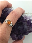 Sterling Silver Baltic Amber Trinity Solitaire Ring (HM72) Ireland, Irish, Scottish, Welsh, Christian Ring