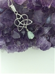 Aventurine Sister's/Family Knot Necklace (HM74) Heart and Trinity Handmade necklace