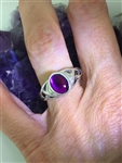 Abalone Paua Shell Trinity Knot ring PURPLE, GREEN, Blue Sterling Silver (HM76)Trinity Knot Ireland Stone Ring ( HM30)