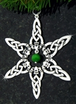 Pewter Claddagh w/ Green Cat's Eye Bead SnowWonders® Snowflake (#JPEW5059)