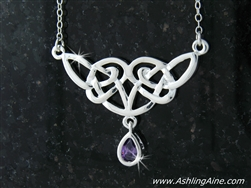 "Angel Wings Celtic Knot Necklace w/ Purple CZ  on 18"" Chain (#JPEW5502)"