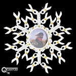 Pewter Yellow Ribbon CZ & Photo SnowWonders® Snowflake Ornament (#JPEW5570)
