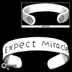 "Pewter Celtic Love Knot ""Expect Miracles"" Cuff Bracelet (#JPEW5580)"