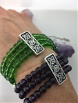 Green Or Purple beaded & Celtic Knot Stretch Bracelet (#JPEW5645)