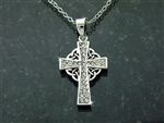 Pewter CZ Celtic Cross Necklace (#JPEW5762)
