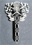 Pewter Rampant Lion, Thistle, & Claymore Sword Kilt Pin (#JPEW5968)