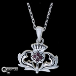 Pewter Scottish Thistle CZ Necklace (#JPEW5975)