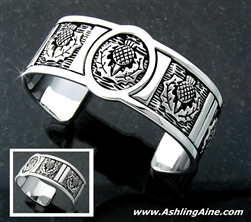 Pewter Scottish Thistle Cuff Bracelet (#JPEW6001)