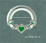 Beautiful CZ and Green Enamel Claddagh Pin (#JPEW6030)